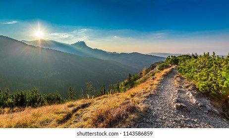 Wonderful sunset in Tatra mountains in autumn, Poland