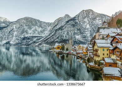 The wonderful town of Hallstatt covered by snow