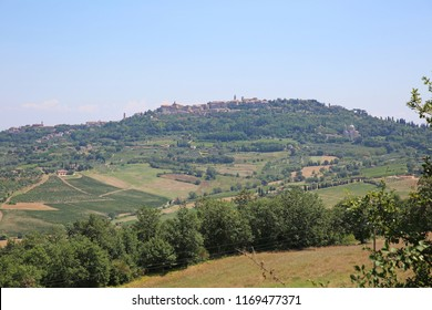 Wonderful town of Montepulciano in Italy's Tuscany is surrounded by vineyards and farmland.