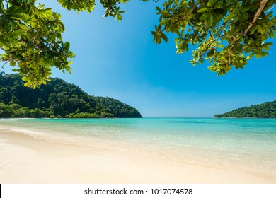 Wonderful turqoise sea at Andaman sea, Beautiful beach and gentle wave at Surin Island, Thailand