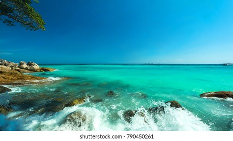 Wonderful turqoise water surface at Andaman sea, Beautiful sea water surface at Surin Island, Thailand