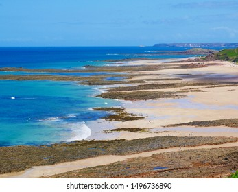 Wonderful turquoise sea at the coast in Brittany, France