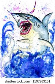 Wonderful unicorn shark with colorful horn, hand drawn illustration.