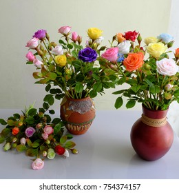 Wonderful vase of rose from clay, colorful roses very beautiful, Vietnam art and craft product as artificial flowers is popular for home decor
