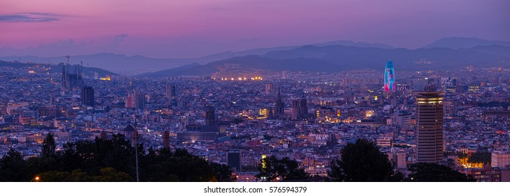 Wonderful view of Barcelona at blue hour