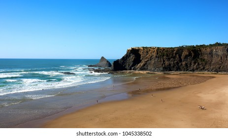 Wonderful view of the beautiful Praia de Odeceixe in south Portugal. It is one of the most spectacular beaches in Algarve region.