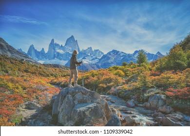 Wonderful view of Fitz Roy mountain,  Patagonia, El Chalten - Argentina