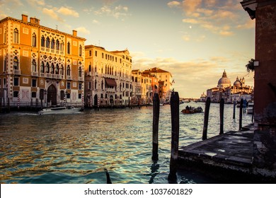 Wonderful view of Grand Canal during sunset, Venice, Italy