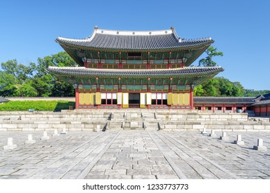 Wonderful view of Injeongjeon Hall at Changdeokgung Palace on blue sky background in Seoul, South Korea. Pavilion of traditional Korean architecture. Seoul is a popular tourist destination of Asia.