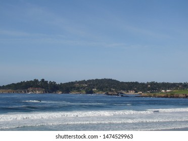 Wonderful view with landscape of trees and sea at Carmel California coast. July 2015