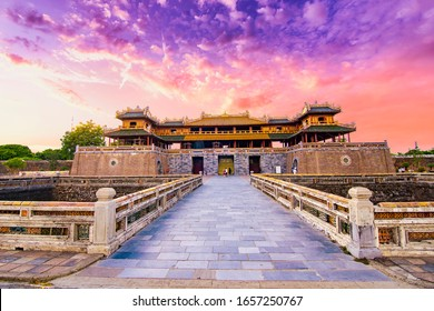 """Wonderful view of the """" Meridian Gate Hue """" to the Imperial City with the Purple Forbidden City within the Citadel in Hue, Vietnam. Imperial Royal Palace of Nguyen dynasty in Hue. Hue is a popular"""
