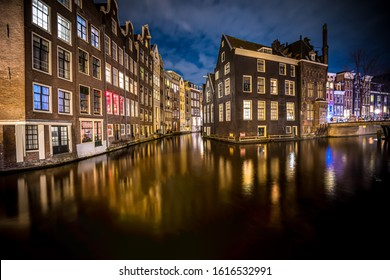 Wonderful view on houses of Amsterdam in night,Netherlands.