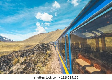 Wonderful view from the Peru Titicaca Train from Cusco to Puno, Peru. It is from Cuzco across the Altiplano to Puno and Lake Titicaca in southern Peru.