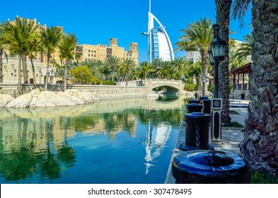 Wonderful view with reflections from Madinat souk in Dubai UAE