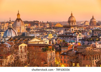 Wonderful view of Rome skyline at sunset time from Castel Sant Angelo