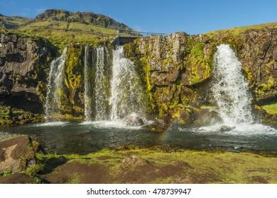 Wonderful waterfall Kirkjufellsfoss in Iceland, summer, 2016