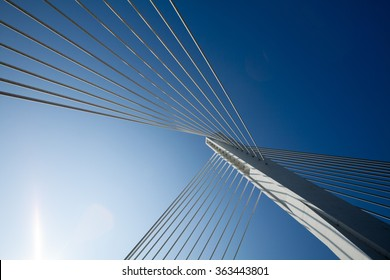 Wonderful white bridge structure over clear blue sky