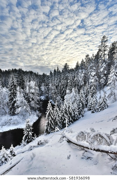 Wonderful winter landscape in high dynamic range/ Winter nature landscape / River valley covered with a thick fresh snow