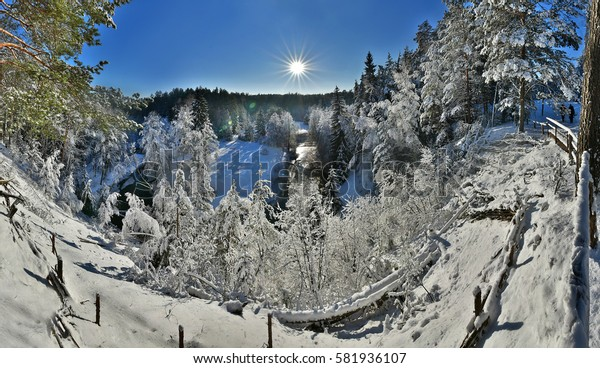 Wonderful winter landscape/ Winter landscape / River valley covered with a thick fresh snow