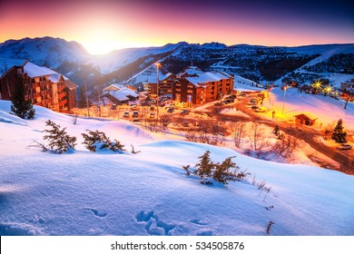 Wonderful winter landscape and ski resort in the Alps, Alpe d'Huez, France, Europe