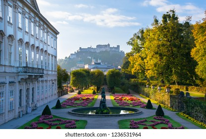 Wonderfull autumn day in Mirabell Palace and Gardens ( Schloss Mirabell) with Hohensalzburg Fortress in the background - Salzburg, Austria