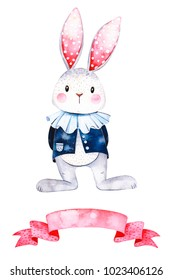 Wonderland collection.Lovely watercolor illustration with cute white rabbit and ribbon. Perfect for wedding,invitation,greeting cards,quotes,logo,Birthday card,Easter,scrapbook,wallpapers