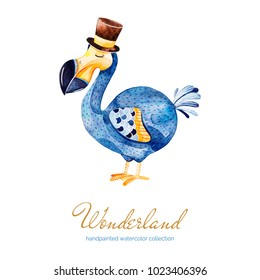 Wonderland collection.Lovely watercolor illustration with cute Dodo bird with cylinder hat. Perfect for wedding,invitation,greeting cards,quotes,logo,Birthday card,Easter,scrapbook,wallpapers