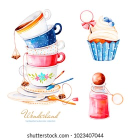 Wonderland collection.Magical watercolor set with cupcake and bottle with label for your text, multicolor cups tea.Perfect for wallpaper,print,packaging,invitation,birthday,wedding,tea party,logo,menu