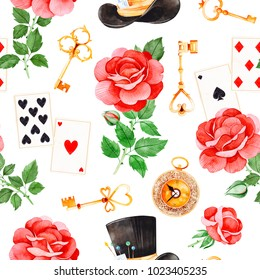 Wonderland seamless texture on white backgrouns.Magical pattern with lovely roses,playing cards,hat,old clock and golden keys.Perfect for wallpaper,print,packaging design,covering,invitations,wedding