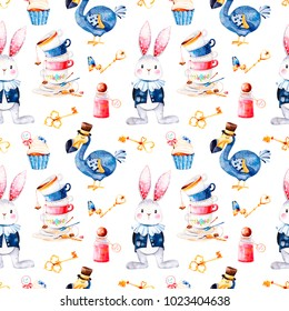Wonderland seamless texture.Magical pattern with bottle,Dodo bird,golden keys,cute rabbit in blue jacket,cupcake and multicolor cups tea.Perfect for wallpaper,print,packaging,invitations,birthday.