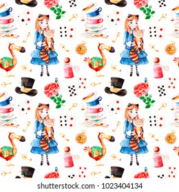 Wonderland seamless texture.Magical pattern with lovely rose,playing cards,hat,old clock and golden keys,young girl in blue dress with cute cat, Dodo bird,bottle.Perfect for wallpaper,print,packaging