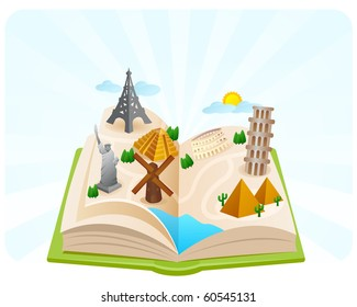 Wonders of the world in a book fold illustration