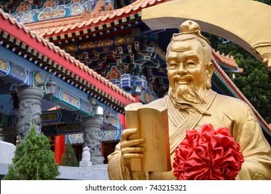 WONG TAI SIN, HONG KONG - OCT 28, 2012 - Statue of the God of marriage Yue Lao at Wong Tai Sin Temple, Hong Kong