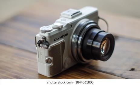 Wonosobo, indonesia  -  october 25 2020 : Olympus  Digital camera Stylus XZ-2