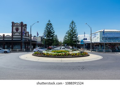 Wonthaggi, Australia - January 27, 2018: view north along McBride Avenue towards Apex Park. Wonthaggi is a regional centre in South Gippsland.