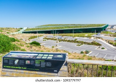 Wonthaggi, Australia - January 28, 2018: the Victorian Desalination Plant was completed in 2012. It can produce 410 megalitres of water per day.