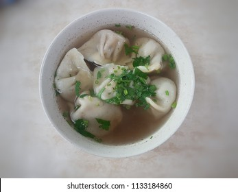 Wonton soup with white background