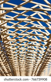 Wood 2X4 framing at a construction site.