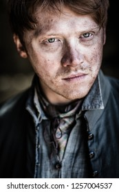 In a wood 5 miles outside Tring, Hertfordshire, England - 05 01 2013: A portrait of the actor Rupert Grint whilst on the set of Instruments of Darkness, a dramatisation of Macbeth