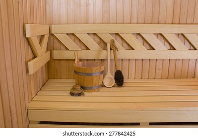 Wood accessory in the Sauna