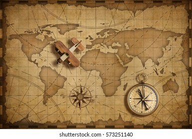 Wood airplane over world nautical map as travel and explore 3d illustration