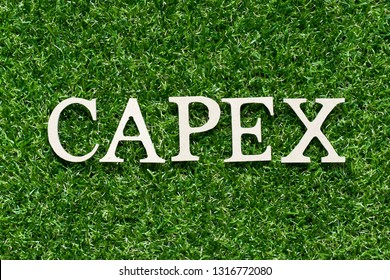 Wood alphabet letter in word CAPEX (Abbreviation of Capital Expenditure) on artificial green grass background