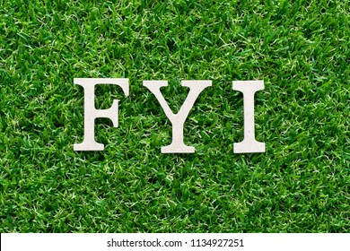 Wood alphabet in word FYI (Abbreviation of For your information) on artificial green grass background