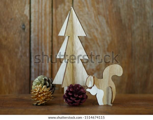 Wood Animal Christmas Decoration Tree Animals Wildlife Stock Image 1514674115
