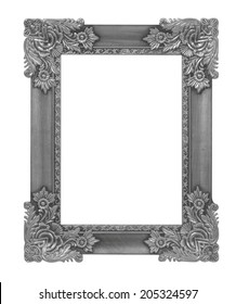 Wood antique wood picture frame isolated on white background.