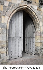 Wood arch doorway into church, St Andrews, Scotland