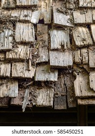 Wood arranged on top of the bungalow house covered with debris from the branches and dry leaf, Wood texture.