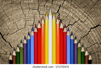 Wood background color pencils. crayons