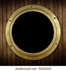wood background with porthole