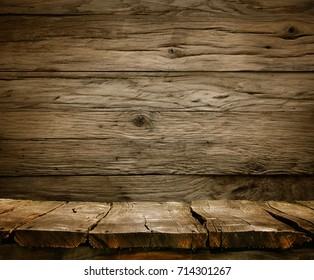 Wood background - table with wooden wall. Wooden table background. Empty display